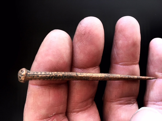 Coper alloy stick pin 3. The Coombe excavation, Dublin.